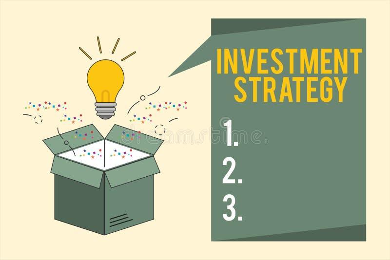 Strategi för investering för ordhandstiltext Affärsidé för uppsättning av regeltillvägagångssättuppförande en handbok till en akt royaltyfri illustrationer