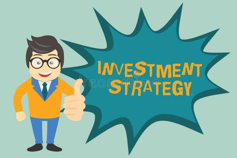 Strategi för investering för textteckenvisning Begreppsmässig fotouppsättning av regeltillvägagångssättuppförande en handbok till royaltyfri illustrationer
