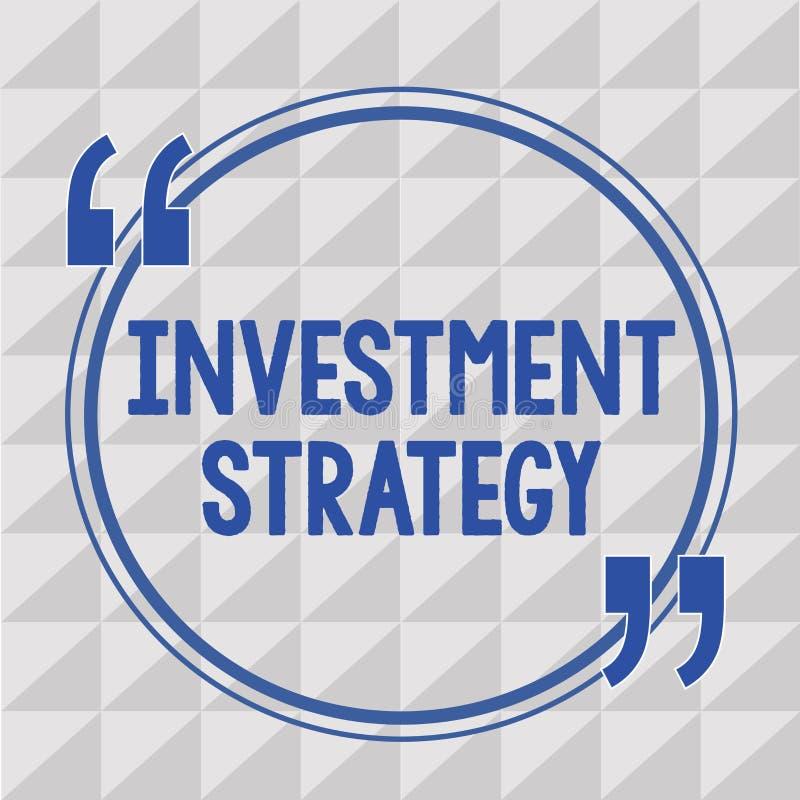 Strategi för investering för textteckenvisning Begreppsmässig fotouppsättning av regeltillvägagångssättuppförande en handbok till stock illustrationer