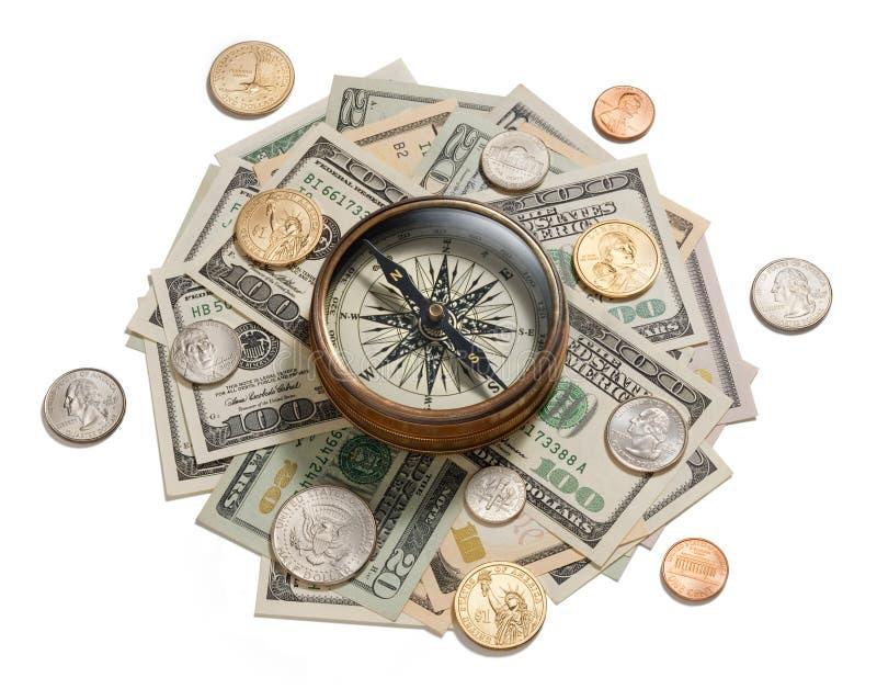 strategi för kompassadministrationspengar fotografering för bildbyråer