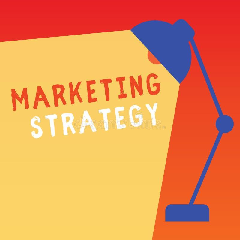 Strategi för marknadsföring för ordhandstiltext Affärsidé för intrig på hur man lägger ut produktserviceaffär stock illustrationer