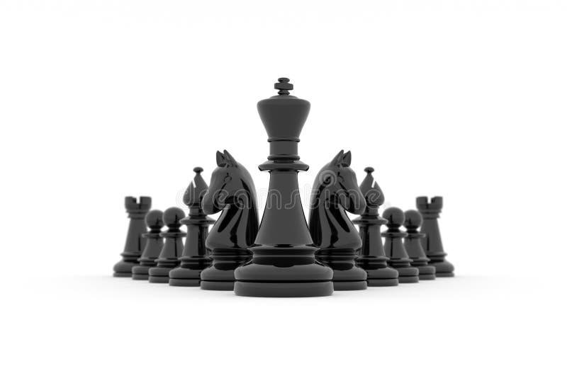 Strategi för schacklagbyggnad - göra till kung ledarskap för ` s royaltyfri illustrationer