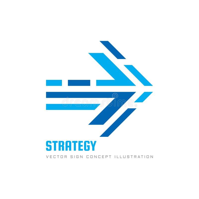 Strategi - illustration för vektor för mall för begreppsaffärslogo Idérikt tecken för abstrakt pil Logistisk transporthemsändning stock illustrationer