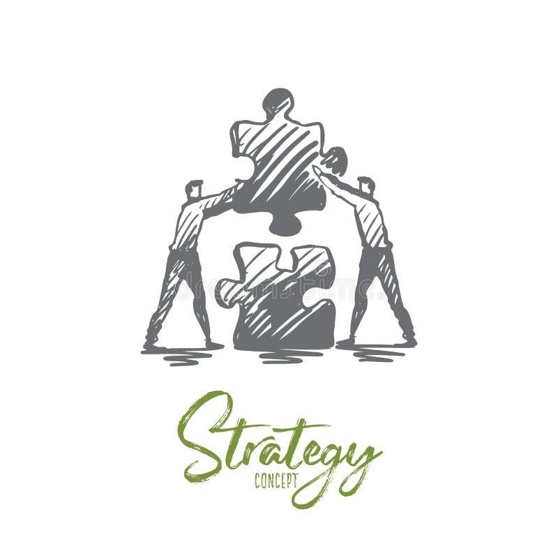 Strategi pussel, affär, teamwork, framgångbegrepp Hand dragen isolerad vektor royaltyfri illustrationer