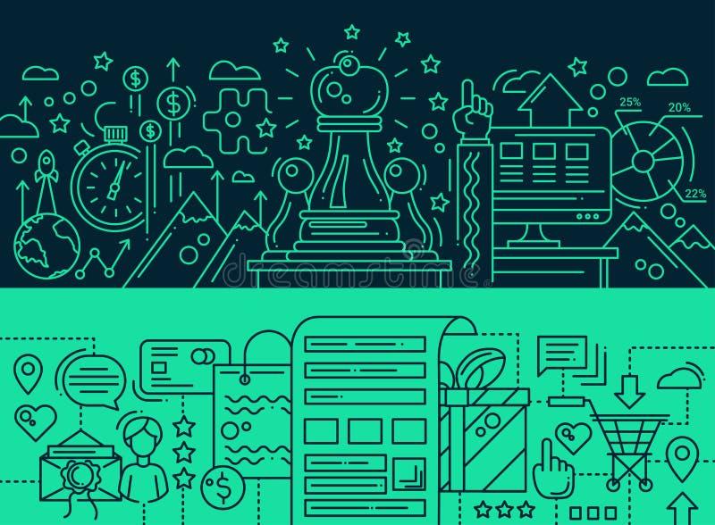 Strategi som shoppar önskelistan - linjen designbaner ställde in stock illustrationer
