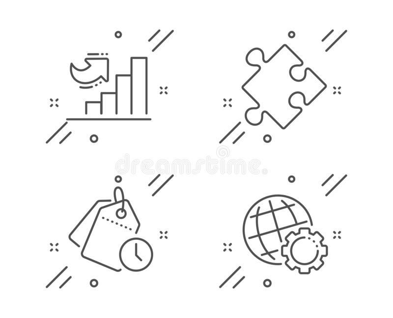 Strategi-, Tid ledning och uppsättning för symboler för tillväxtdiagram Jordklottecken Pussel klockaetiketter, diagramgraf vektor vektor illustrationer
