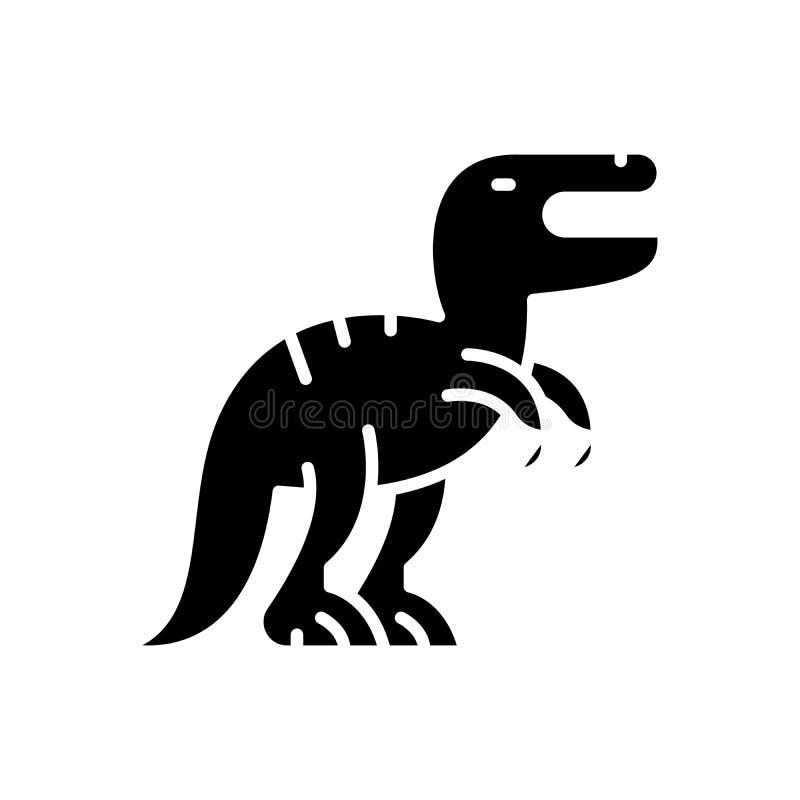 Strategia aggressiva, concetto dell'icona del nero di Dino Strategia aggressiva, simbolo piano di vettore di Dino, segno, illustr royalty illustrazione gratis