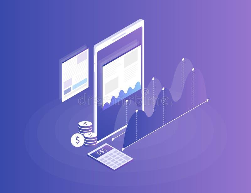 strategia aziendale di concetto Dati ed investimento di analisi Successo di affari illustrazione di stock