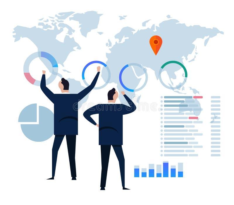 Strategia aziendale piana di concetto di progetto Dati ed investimento di analisi Elementi infographic di rassegna finanziaria di royalty illustrazione gratis
