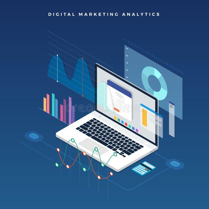 Strategia aziendale piana di concetto di progetto progettazione piana isometrica 3d illustrazione di stock