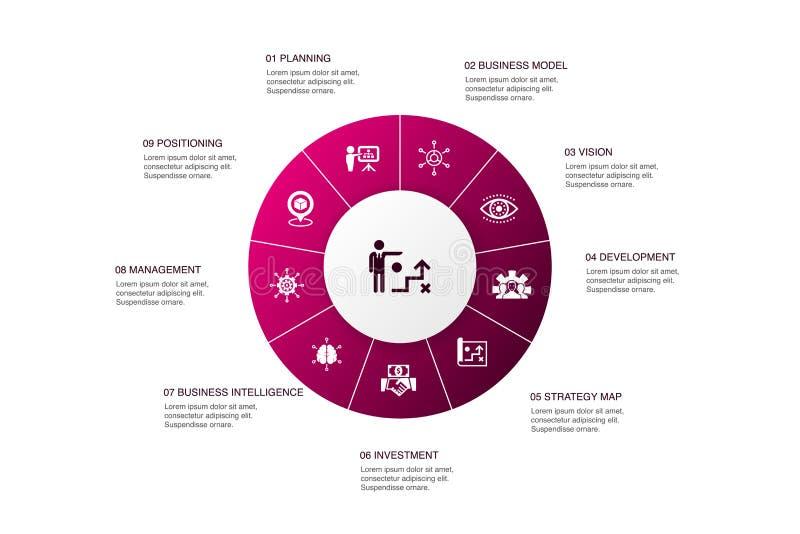 Strategia biznesowa — informacje 10 kroków royalty ilustracja
