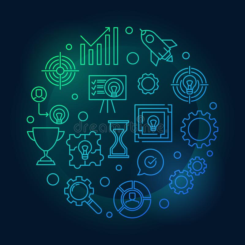 Strategia Biznesowa konturu round barwiona wektorowa ilustracja ilustracji