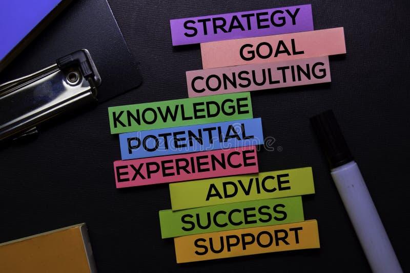 Strategia, cel, Konsultuje, wiedza, potencjał, doświadczenie, rada, sukces, poparcie tekst na kleistych notatkach odizolowywać na zdjęcia royalty free