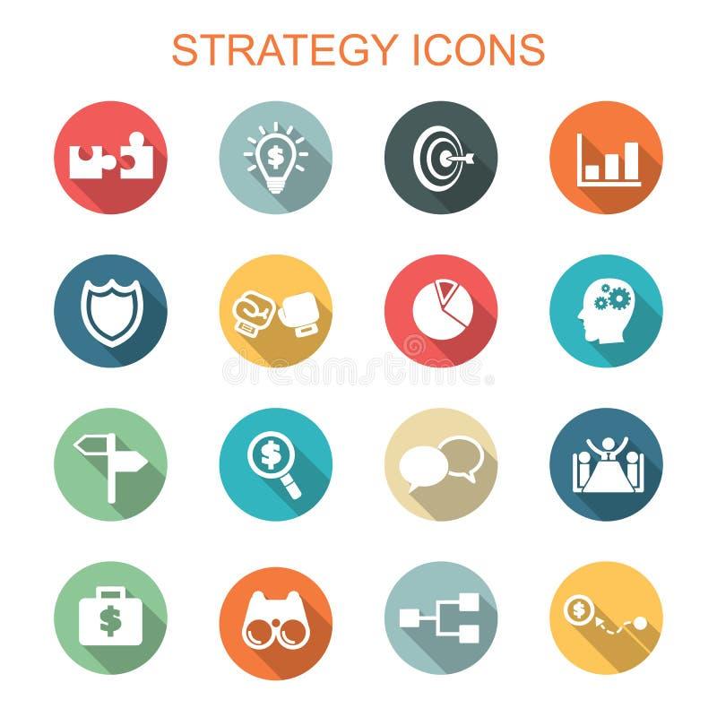 Strategia cienia długie ikony ilustracji