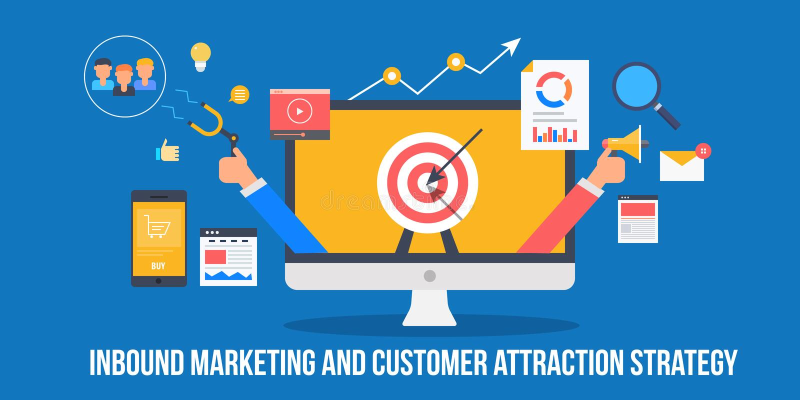Strategia dell'attrazione del cliente con il concetto in arrivo di vendita Uomo d'affari che promuove e che attira i nuovi client illustrazione vettoriale