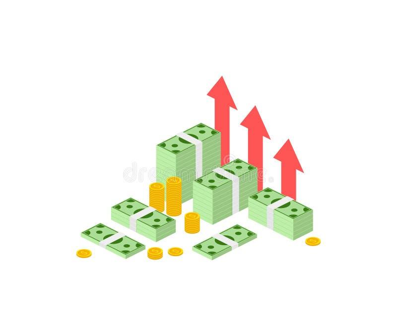 Strategia di aumento del reddito, alto ritorno su investimento finanziario isometrico, raccolta di fondi, crescita del reddito, t illustrazione di stock