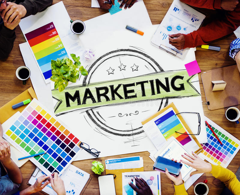 Strategia di marketing che marca a caldo piano commerciale Concep della pubblicità fotografia stock