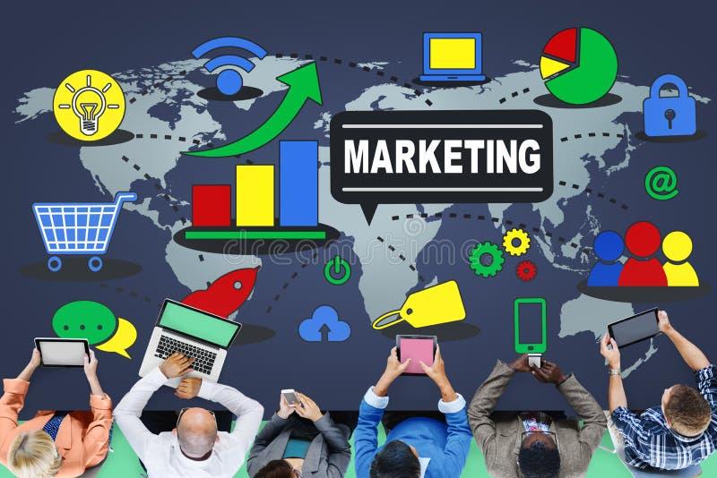 Strategia di marketing che marca a caldo piano commerciale della pubblicità fotografie stock libere da diritti