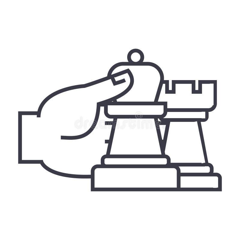 Strategia di scacchi ed icona lineare di tattiche, segno, simbolo, vettore su fondo isolato illustrazione vettoriale