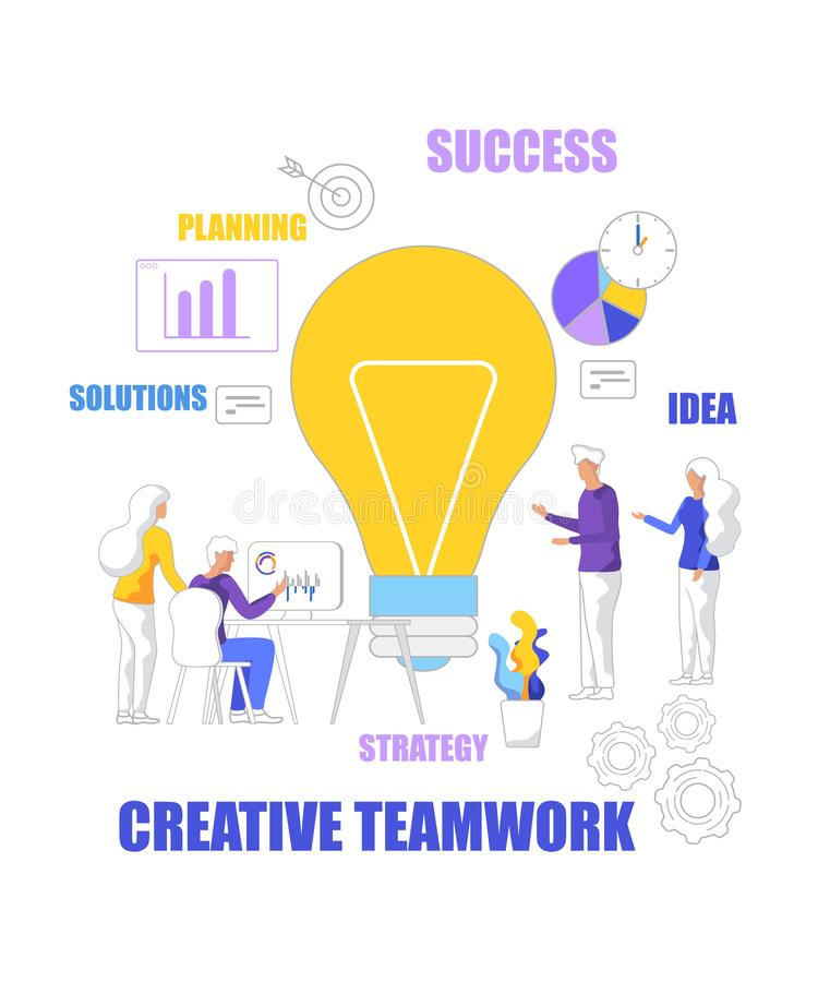Strategia di successo di Team Work Idea Planning Solutions illustrazione vettoriale