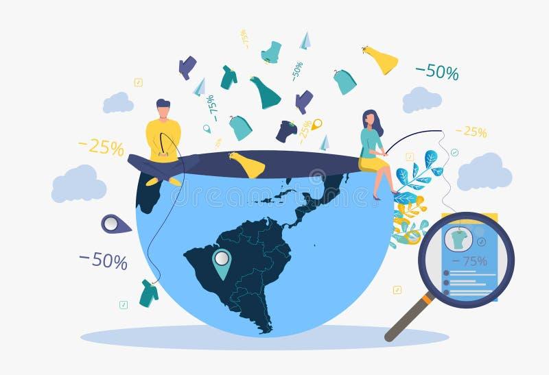 Strategia di sviluppo di affari Metafora della gente, parole, cose, mosche dal pianeta Terra Illustrazione di vettore illustrazione vettoriale