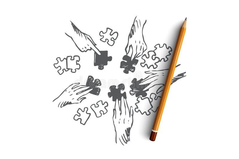 Strategia, drużyna, praca zespołowa, taktyki pojęcie Ręka rysujący odosobniony wektor ilustracja wektor
