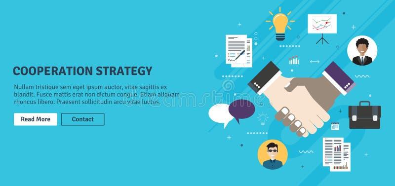 Strategia e stretta di mano di cooperazione nella firma di accordo di contratto illustrazione di stock