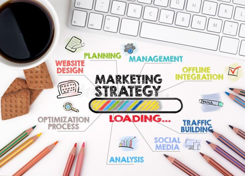 Strategia marketingowa, Biznesowy pojęcie Mapa z słowami kluczowymi i ikonami target1166_0_ biznesmena biurka biurowy sieci biel obraz royalty free