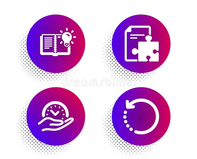 Strategia, produkt wiedza i Bezpiecznego czasu ikony ustawiający, Wyzdrowienie dane znak Łamigłówka, edukacja proces, zarządzanie royalty ilustracja