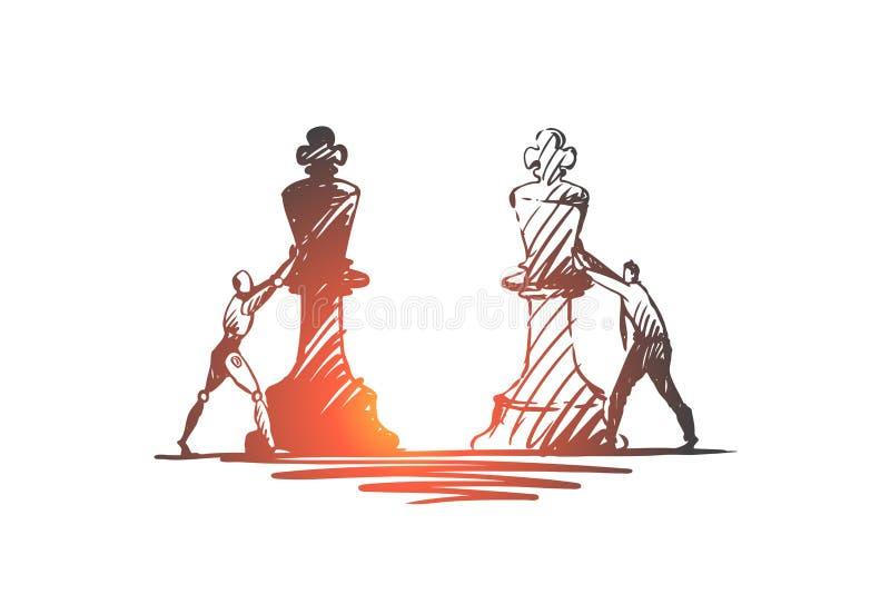 Strategia, scopo, HCI, automazione, tecnologia, concetto dell'uomo d'affari Vettore isolato disegnato a mano illustrazione di stock