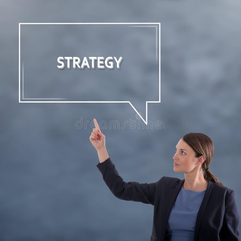 Strategiaffärsidé Begrepp för diagram för affärskvinna arkivfoto