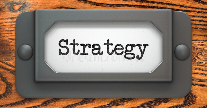 Strategibegrepp på etiketthållare arkivfoto