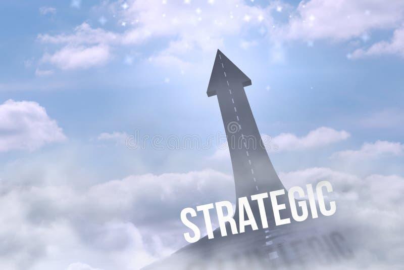 Strategic against road turning into arrow royalty free illustration
