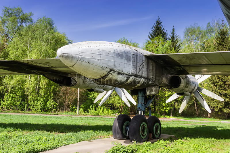 Strategic bomber Tu-95 Bear. Propeller-engine powerplant and chassis. Old faulty strategic soviet bomber Tu-95 (Bear) on the former airbase Uzin, Ukraine stock photography