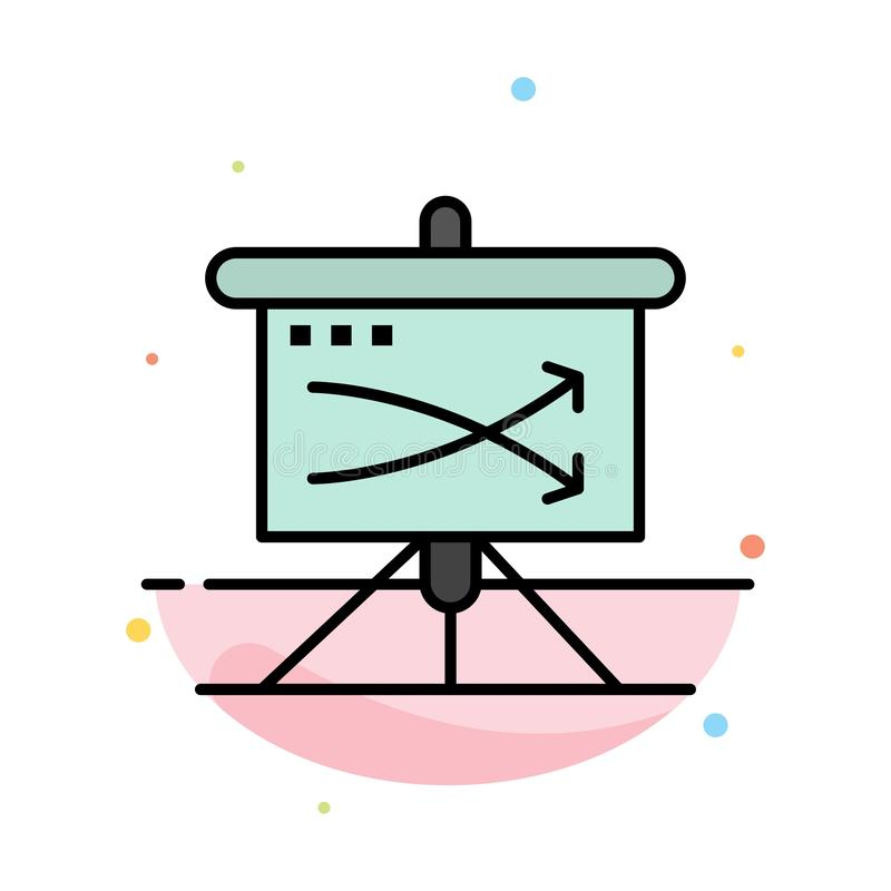 Strategic, Business, Plan, Planning, Graph Abstract Flat Color Icon Template stock illustration