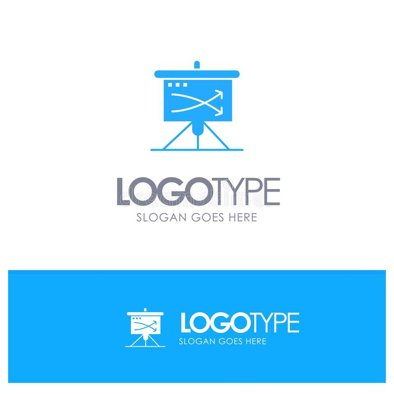 Strategic, Business, Plan, Planning, Graph Blue Solid Logo with place for tagline stock illustration
