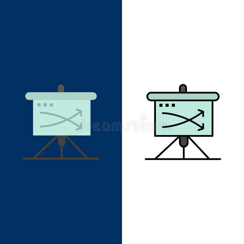 Strategic, Business, Plan, Planning, Graph  Icons. Flat and Line Filled Icon Set Vector Blue Background stock illustration