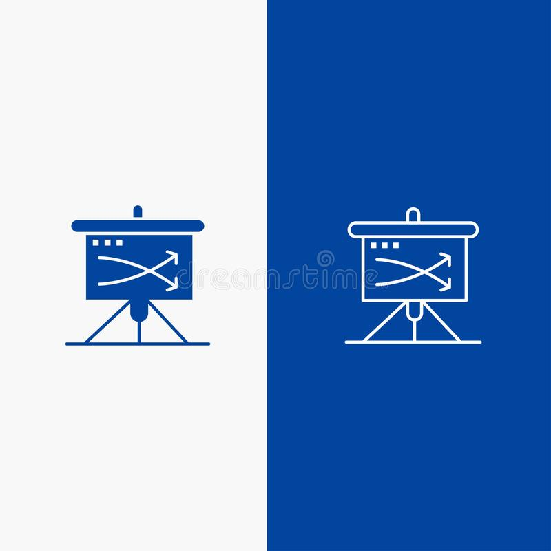 Strategic, Business, Plan, Planning, Graph Line and Glyph Solid icon Blue banner Line and Glyph Solid icon Blue banner stock illustration