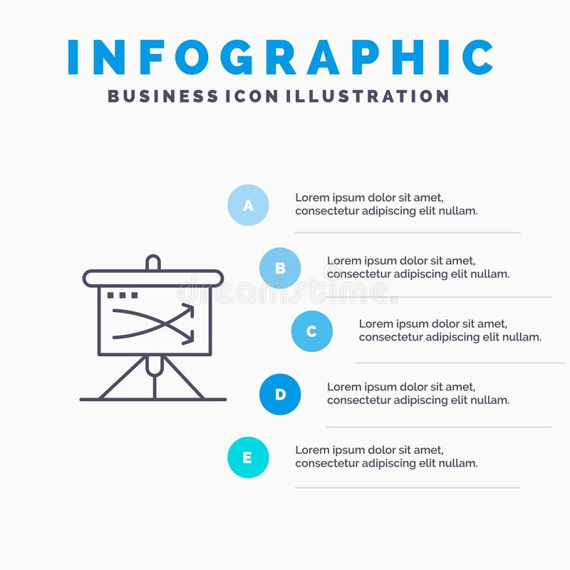 Strategic, Business, Plan, Planning, Graph Line icon with 5 steps presentation infographics Background vector illustration