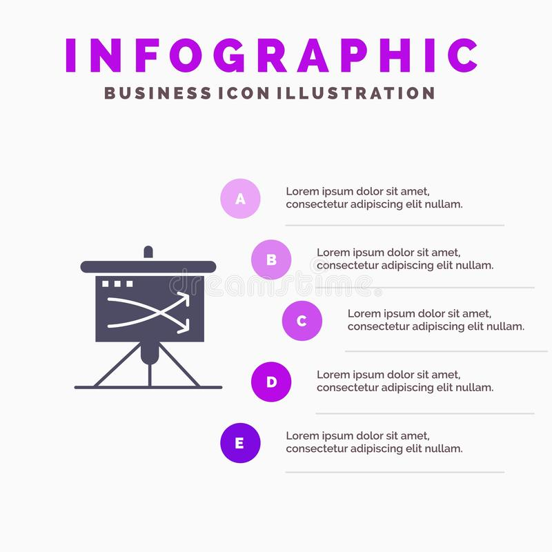 Strategic, Business, Plan, Planning, Graph Solid Icon Infographics 5 Steps Presentation Background royalty free illustration