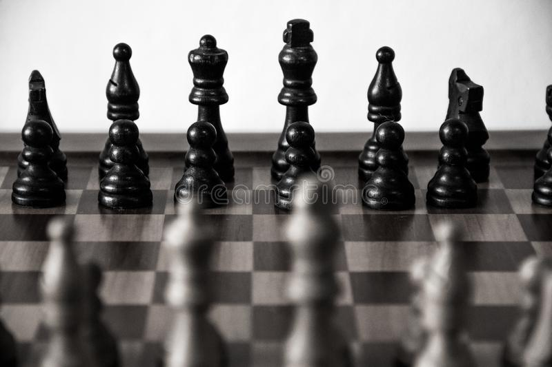 The strategic game of chess. Board, strategy, pawns, queen, king, black, white stock photos