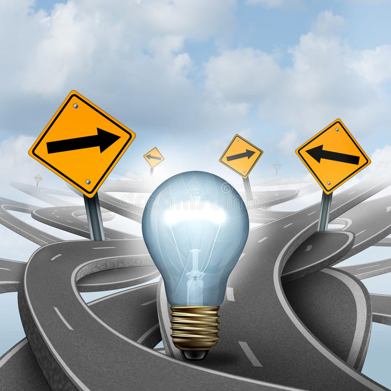 Strategic Ideas. Concept as a business symbol with a lightbulb or light bulb choosing the right strategic path for a new creative way with yellow traffic signs royalty free illustration