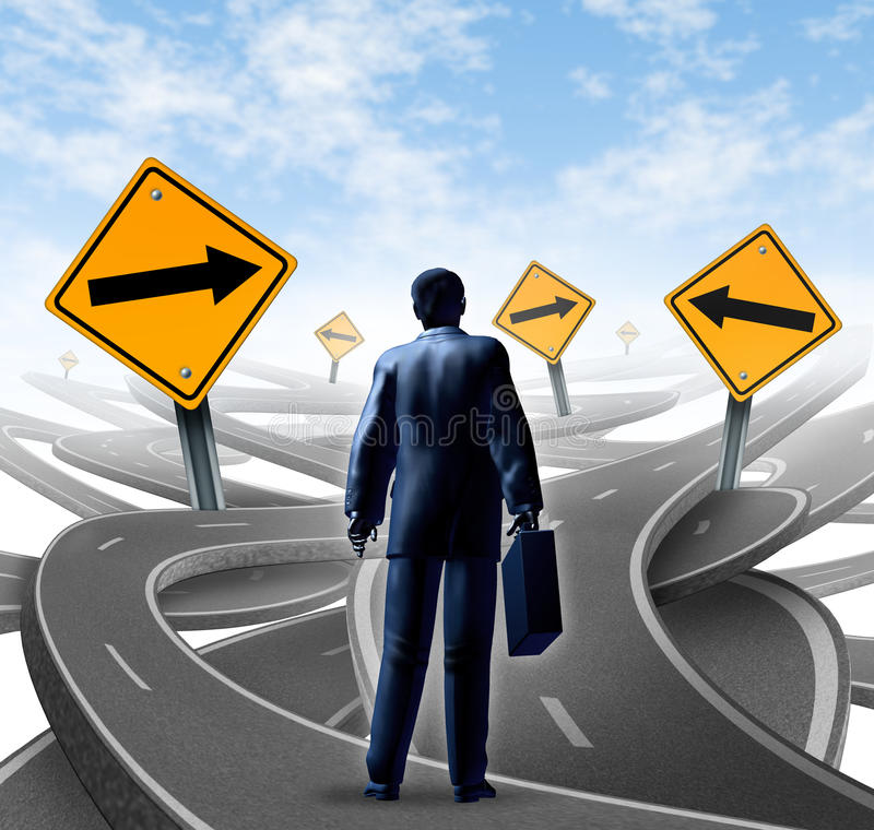 Strategic Journey. As a business man with a briefcase choosing the right strategic path for a new career with blank yellow traffic signs with arrows tangled vector illustration