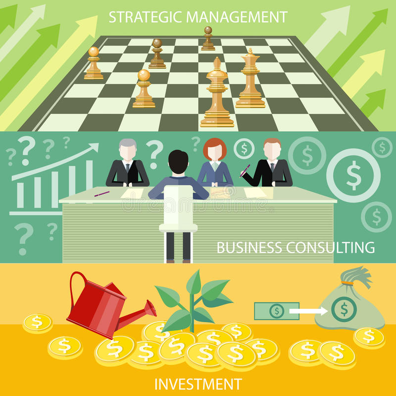 Strategic management, business consulting. Money tree with coins watered from watering can. Investment concept. Business partners sitting at table and discussing stock illustration