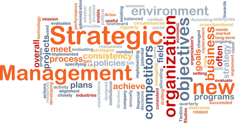 Strategic management word cloud royalty free illustration
