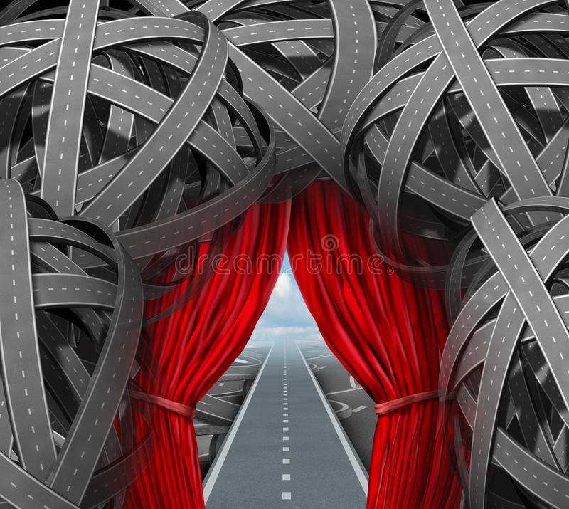 Strategic Opportunity. Cutting through the confusion with clear strategy and solutions for business leadership with a straight path to success with open red vector illustration