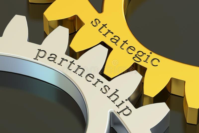 Strategic Partnership concept on the gearwheels, 3D rendering vector illustration