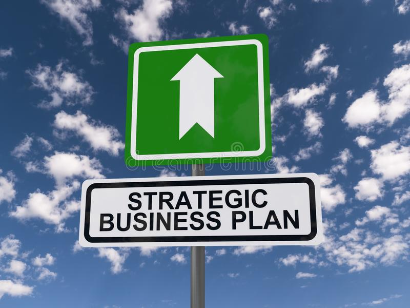 Strategic Business Plan Sign. A strategic plan business sign with an arrow pointing forward surrounded by a blue sky with fluffy clouds vector illustration