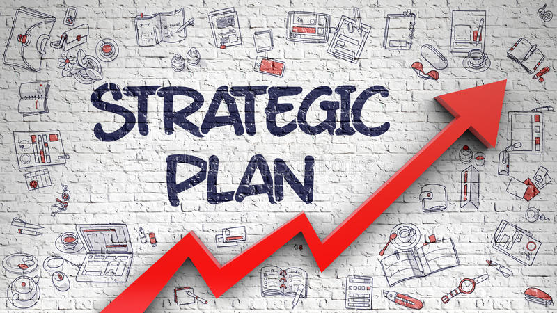 Strategic Plan Drawn on Brick Wall. Strategic Plan Inscription on the Modern Illustration. with Red Arrow and Doodle Icons Around. Strategic Plan - Line Style vector illustration