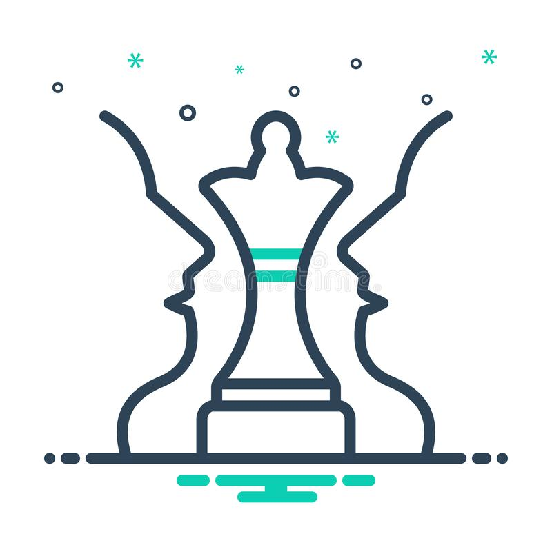 Black mix icon for Strategic Plan, chess and challenge. Black mix icon for Strategic Plan, achievement, decision, logo,  chess and challenge royalty free illustration